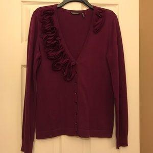 Daisy Fuentes - Purple Cardigan  w  chiffon trim
